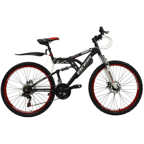 Boss Dominator 26 Inch Full Suspension Male Mountain Bike Black/Red Ages 12 Years+