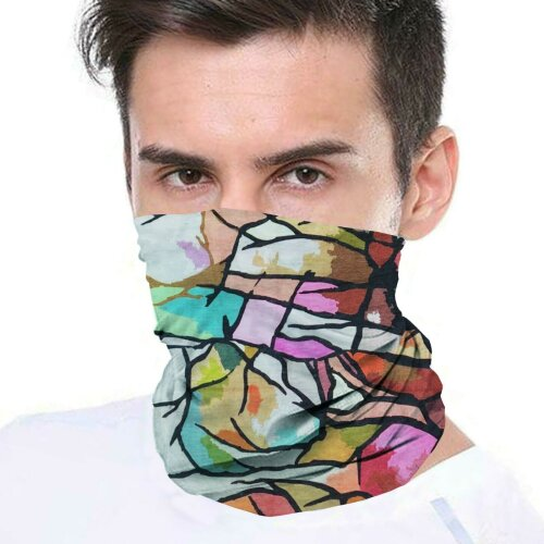 (Multicoloured) Bandana Face Covering Mask Biker Tube Snood Scarf Neck Cover