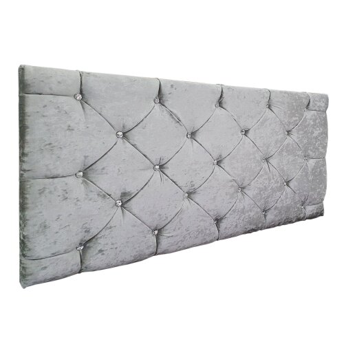 "(Double, Silver) Crushed Velvet Chesterfield 24"" Headboard"