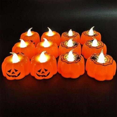 Halloween LED Pumpkin Spiderweb Lanterns Light Lamp Party Decor Inddoor