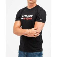 Tommy Jeans Mens T Shirts Crew Neck Regular Cotton L Black