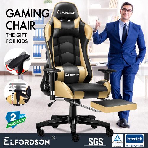 ELFORDSON Gaming Chair Office Executive Racing Seat PU Leather REGAN Gold