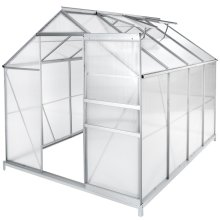 Greenhouse aluminium polycarbonate with foundation 250 x 185 x 195 cm