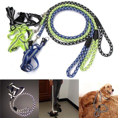 Luminous Safety Dog Harness Leash Reflective Adjustable Nylon Rope Puppy Harness