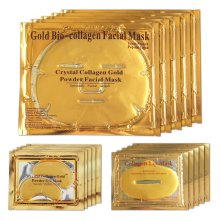 24K Gold Bio Collagen Crystal Face Mask + Eye Mask + Lip Mask, Anti ageing Skin Care (5pairs/set)