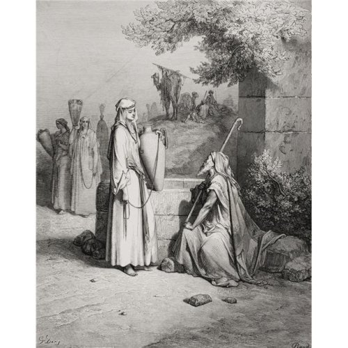 Engraving From The Dore Bible Illustrating Genesis Xxiv 15 To 21 Eliezer & Rebekah by Gustave Dore 1832-1883 French Poster Print, Large - 26 x 34