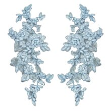 a Pair of blue floral lace applique sew on flower embroidered tulle lace motif patch