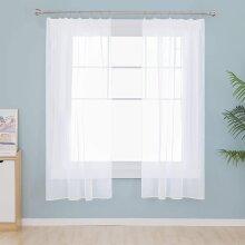 Deconovo Voile Curtains Pencil Pleat Net Curtains Semi Sheer Curtains Decorative Sheer Voile Curtains Light Weight Voile Net Curtains White 55 x 54 In