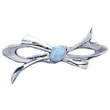 Opal Brooch Solid Silver Bow Design Hallmarked handmade