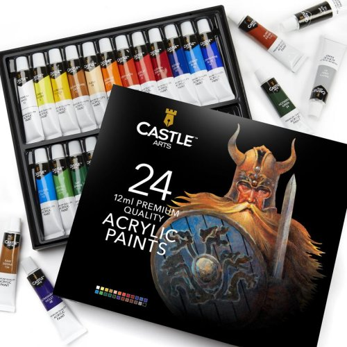 Castle Arts 24 Piece Acrylic Paint Set | 12ml Paints