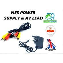 Nintendo NES Power Supply UK Plug + AV Lead Bundle