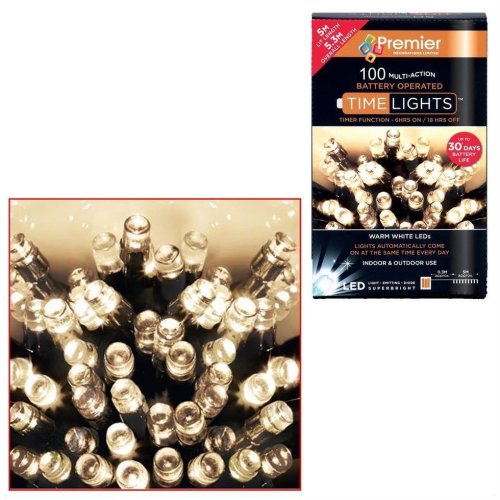 100 Premier Decorations Christmas Lights - Warm White | 10m Battery Powered LED Lights