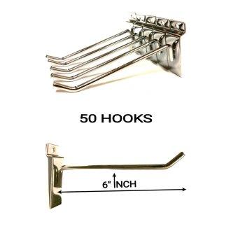 50 PCS 6/'/' INCH SLATWALL SLAT BOARD HOOKS ACCESSORY SINGLE SHOP RETAIL DISPLAY