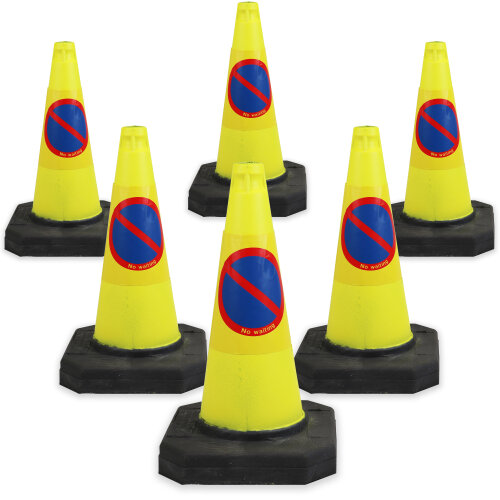 6 x No Waiting Traffic Safety Road Cones Yellow