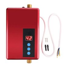 Mini Water Heater, 5500W Electric Instant Water Heater Tankless Shower Hot Water System for Bathroom Kitchen Washing 220V(Red)