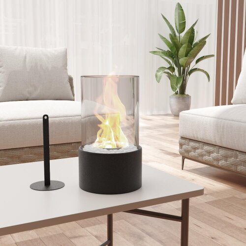 Round Bio Ethanol Tabletop Fireplace with Flame Guard