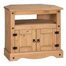 Corona TV Unit Corner Media Cabinet Stand 2 Door Solid Pine Furniture