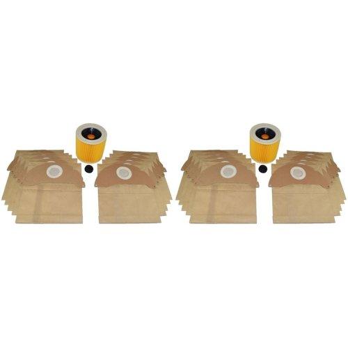 20 x Wet & Dry Vacuum Dust Bags & 2 Filters Fits Karcher WD2.250 4C