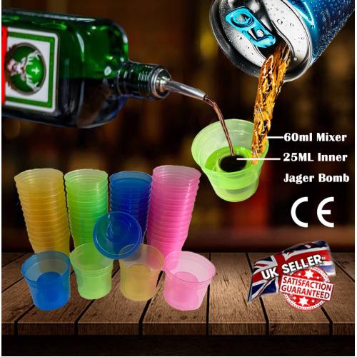 (150) Plastic Bomb Shot Glasses Jager bomb Glasses Party Shots Strong