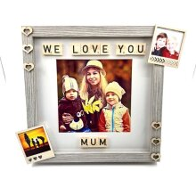 Love You Mum Personalized Scrabble Tile Frame Photography Print