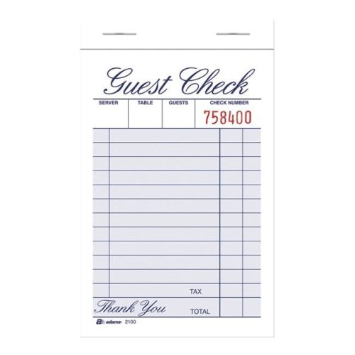 Tops Products 1447106 3.34 x 4.94 in. Single Part Guest Check Pad, White - Pack of 12