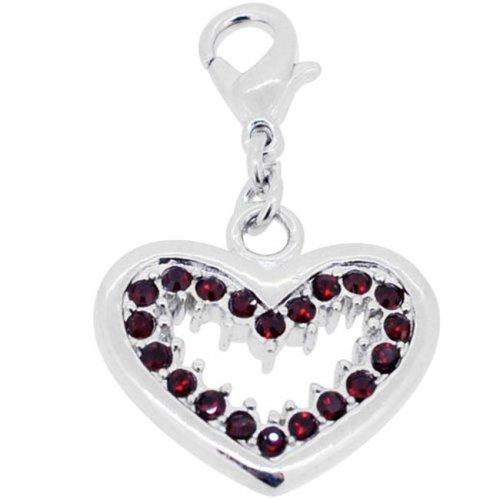 Fantasyard Garnet Heart Swarovski Crystal Pendant - Silver - 0.875 x 0.75 in.