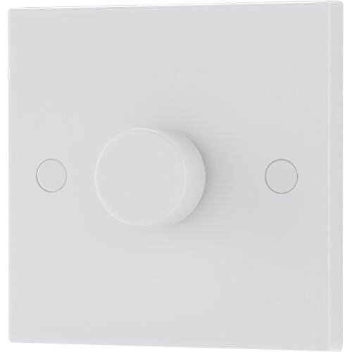 BG Electrical Single Round Push Button Dimmer Light Switch, White Moulded, Square Edge, 2-Way, 400 Watts