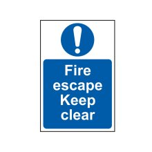 Scan Fire Escape Keep Clear - PVC 200 x 300mm SCA0158