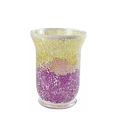 Yankee Candle 1521490Purple & Gold Smashed Mosaic Candle Holder, Clear Glass, Gold/Purple, 22.5x 16x 16cm