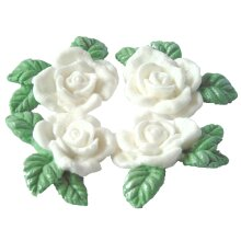 4 Edible Glittered Rose Garland Wedding Cake Decorations