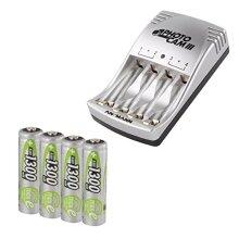 ANSMANN PCIII UK Plug Battery Charger for AA/AAA Rechargeable Batteries & 4 x 1300mAh AA Rechargeable Batteries | Charges 2 or 4 batteries in pairs