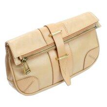 Belstaff Dorchester Clutch Bag Warm Beige Size Medium Leather Handbag