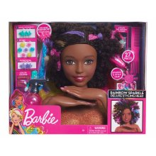 Barbie Rainbow Sparkle Deluxe Styling Head Afro Hair 27PCs Ages 3 Years+