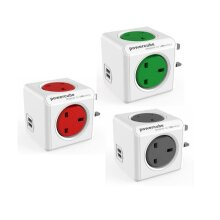 Allocacoc PowerCube UK Plug 4-Way Socket 2 USB