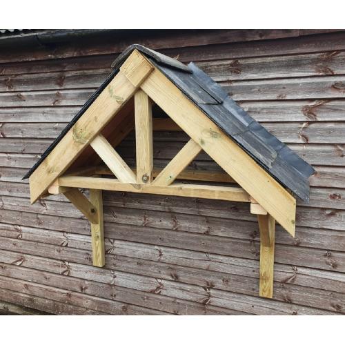 Wooden Front Door Canopy Porch Slate