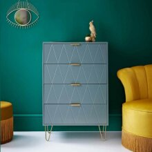 Loft Studio 4 Drawer Chest With gold finish metal legs Store Away all of Your Clothes - Grey