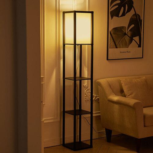 (#1) Morden Floor Lamp Light Nitghtstand with Shelves Storage Dispaly