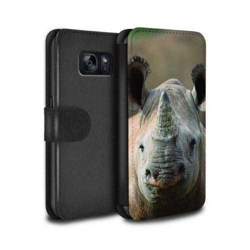 (Rhino) Wildlife Animals Samsung Galaxy S7/G930 Phone Case Wallet Flip Faux PU Leather Cover for Samsung Galaxy S7/G930