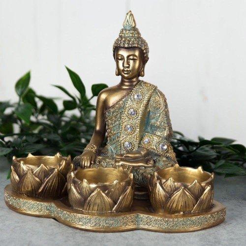 Verdigris Bronze Finish Buddha Tealight Holder