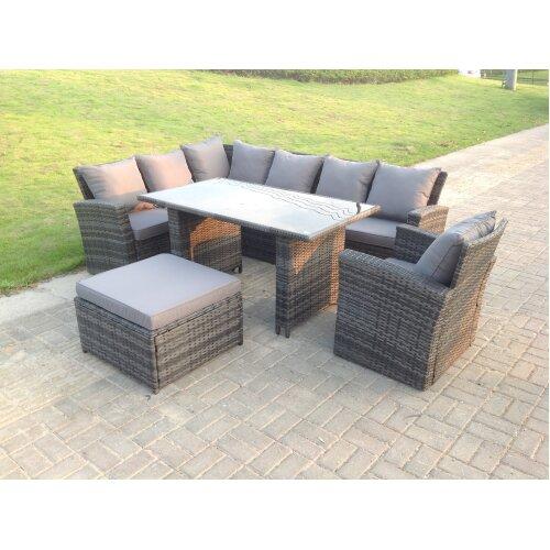 8 Seater High Back Rattan Corner Sofa Dining  Table  Stools Grey Mixed