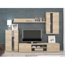 Living Room Furniture with LED Lights Modern Wall Unit in Oak Colour