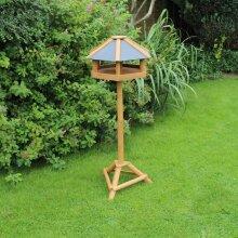 Hex Bird Table House Perch Slate Roof, 59 x 31 x 50cm