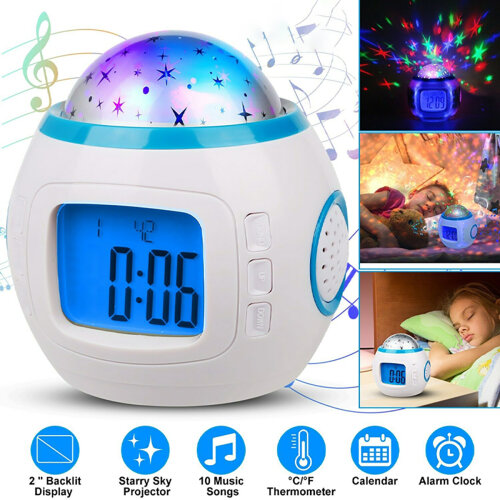 Kids Digital Music LED Starry Sky Projector Alarm Clock Calendar Thermometer