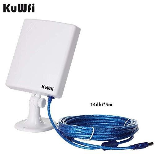 KuWFi Long Range Outdoor WiFi Extender, High Gain 14dBi Wireless USB Adapter Long Range Antenna With 5M Wi-Fi Antenna Extension Cable from Outdoor