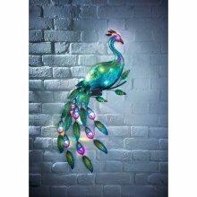 12 Multi Coloured LED Light Solar Powered Gems Peacock Wall Art G-0254