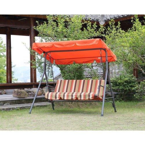 (Orange) Angel Living 3 Seater Outdoor Garden Swing Chair