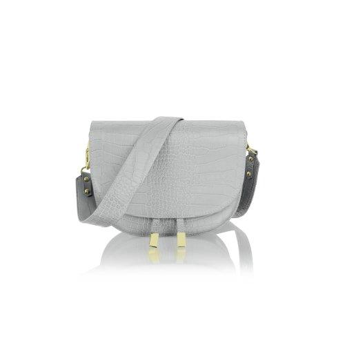 """Woodland Leather 9.0"""" Dark Grey Single Shoulder Carry Handle Bag Tassle Front"""