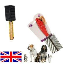 PET PUPPY DOG CAT METAL DOUBLE ROW TEETH WOOD COMB FUR RAKE BRUSH GROOMING HAIR
