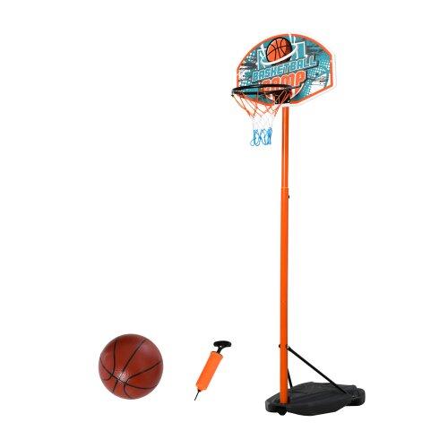HOMCOM 3 Pcs Kids Basketball Set w/ Hoop Ball Pump Height Fillable Base 8-15 Yrs