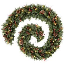WeRChristmas Extra Thick Pre-Lit Multi-Function Garland with 80 Warm LED Lights, Plain, 9 feet
